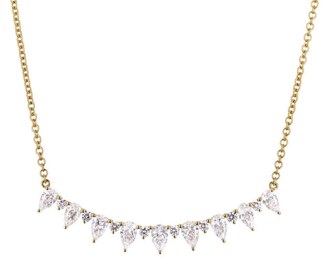 Pear and Round Diamond Crescent Bar Necklace - TWISTonline