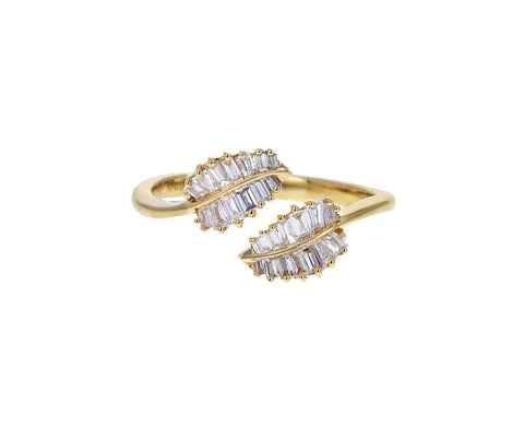 Yellow Gold Small Palm Leaf Baguette Diamond Ring