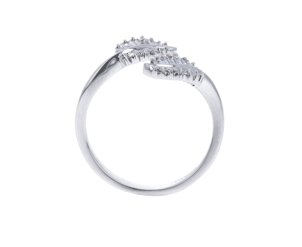 White Gold Small Palm Leaf Baguette Diamond Ring