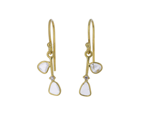 Polki Diamonds Leaves on a Branch Earrings