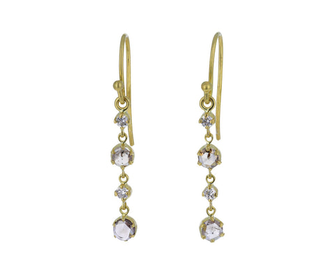 Rose Cut Diamond Stardust Drop Earrings