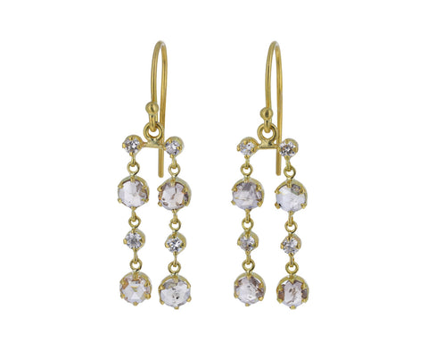 Rose Cut Diamond Stardust Double Drop Earrings