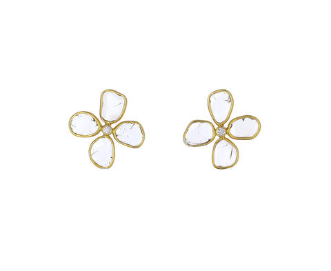 Polki Diamond Clover Stud Earrings
