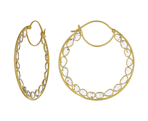 Large Polki Diamond Hoop Earrings
