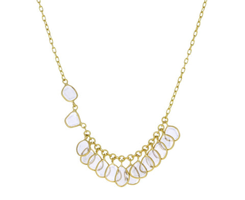 Aysmmetrical Polki Diamond Fringe Necklace