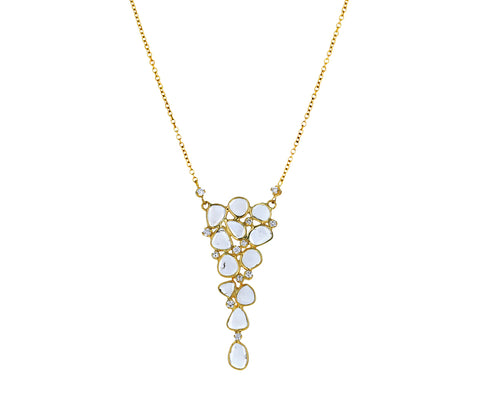 Polki Diamond Mosaic Y Necklace - TWISTonline