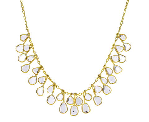Polki Diamond Falling Leaves Demi Fringe Necklace