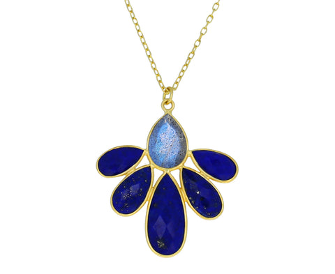 Lapis and Labradorite Autumn Echinacea Necklace - TWISTonline