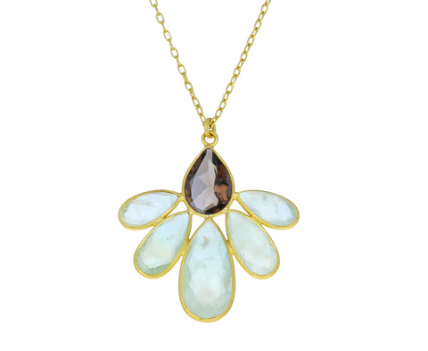 Smokey Quartz and Prehnite Autumn Echinacea Necklace - TWISTonline