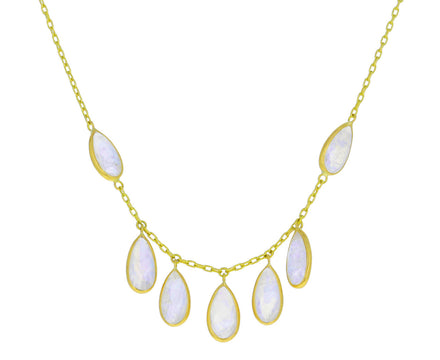 Rainbow Moonstone Fringe Inline Wings Necklace