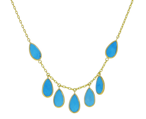 Turquoise Fringe Inline Wings Necklace