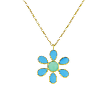 Turquoise and Chrysoprase Daffodil Pendant Necklace