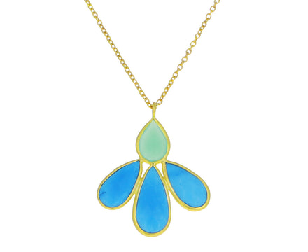 Turquoise and Chrysoprase Small Echinacea Pendant Necklace