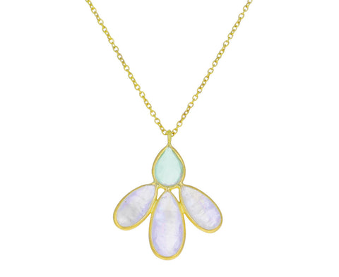 Rainbow Moonstone and Prehnite Small Echinacea Pendant Necklace
