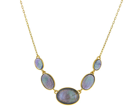Labradorite Oval In Line Necklace