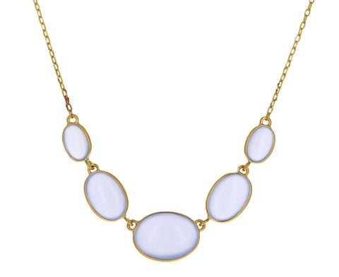 Chalcedony Oval In Line Necklace