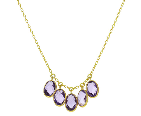 Amethyst Oval Fringe Necklace