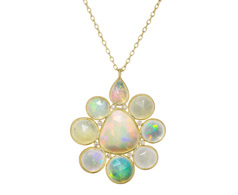 Opal and Diamond Flower Pendant Necklace