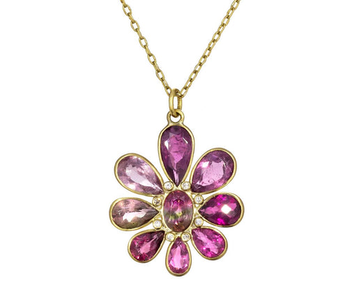 Pink Tourmaline and Diamond Flower Pendant Necklace - TWISTonline