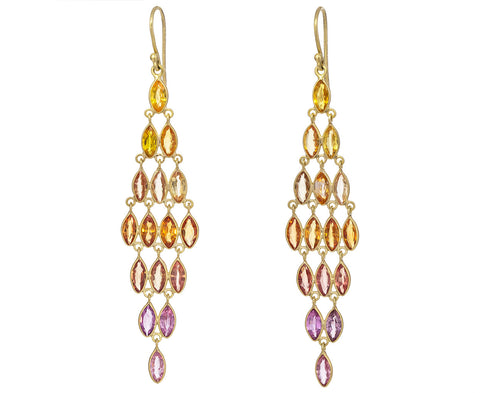 Marquise Colored Sapphire Chandelier Earrings