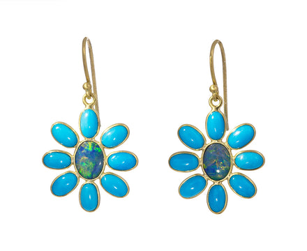 Boulder Opal and Turquoise Flower Earrings - TWISTonline