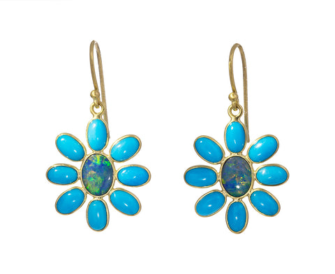 Boulder Opal and Turquoise Flower Earrings