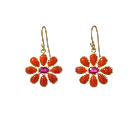 Coral and Ruby Flower Earrings - TWISTonline