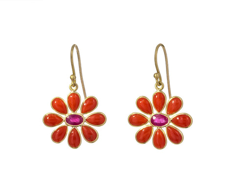 Coral and Ruby Flower Earrings