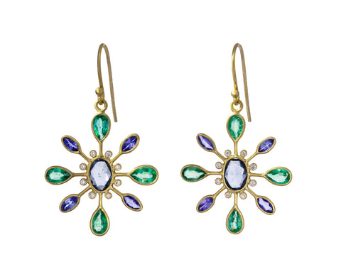 Sapphire Emerald and Tanzanite Petal Earrings - TWISTonline
