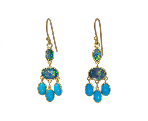 Boulder Opal and Turquoise Chandelier Earrings
