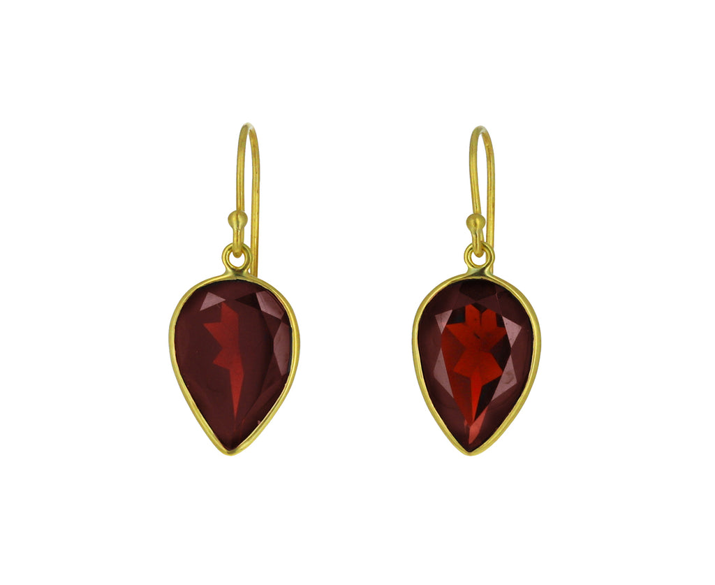 Garnet Pear Drop Earrings