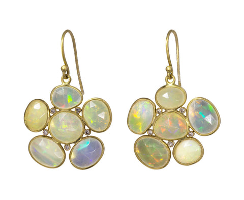 Opal and Diamond Flower Earrings