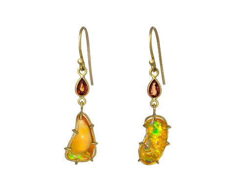 Free Form Fire Opal and Orange Sapphire Earrings