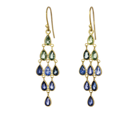 Ombre Sapphire Chandelier Earrings