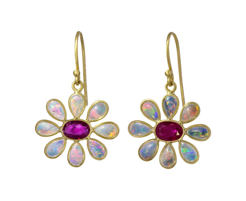 Opal and Ruby Flower Earrings