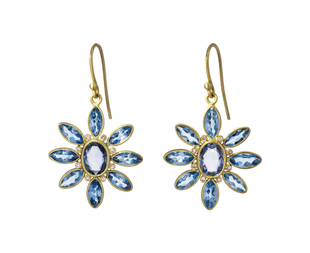 Aquamarine and Blue Sapphire Flower Earrings - TWISTonline