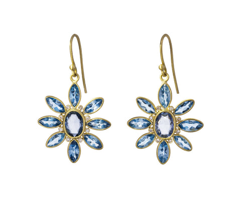 Aquamarine and Blue Sapphire Flower Earrings