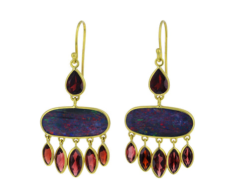 Boulder Opal and Garnet Chandelier Earrings