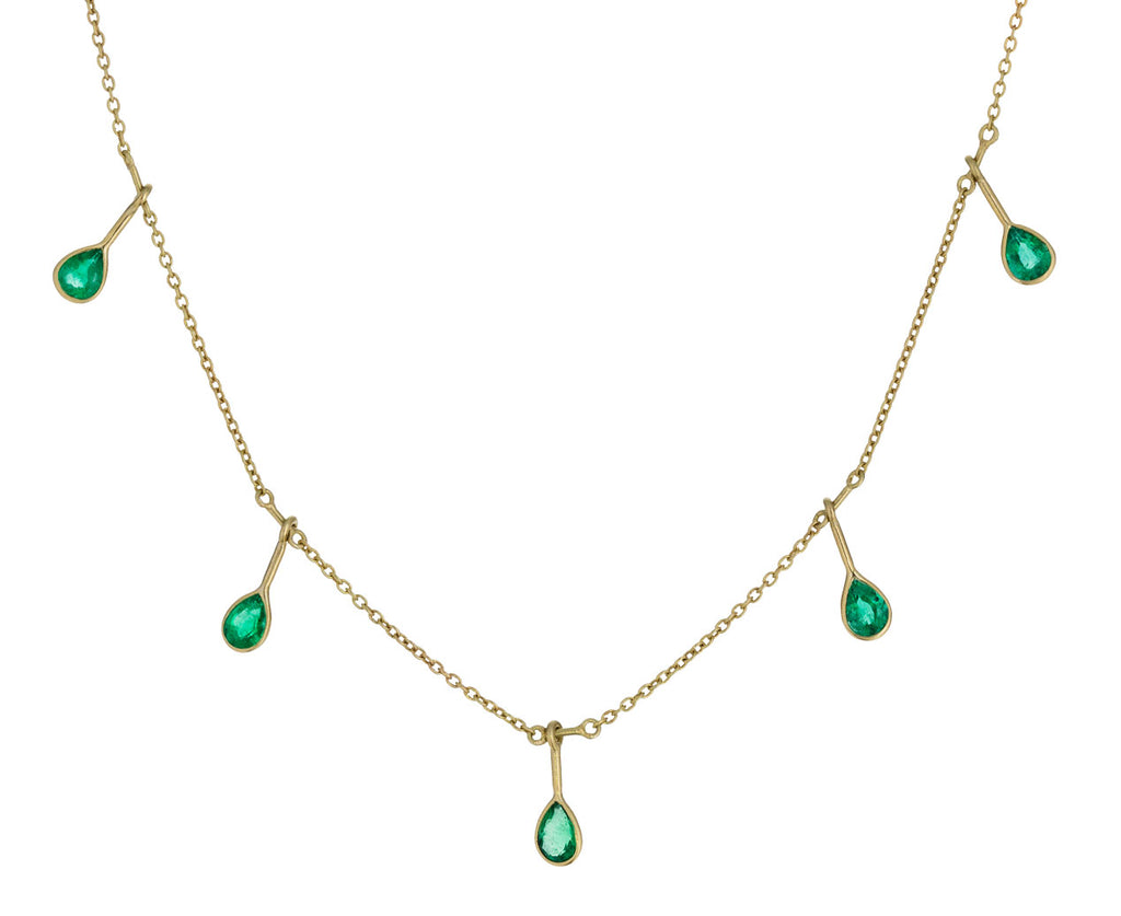 Falling Emerald Fringe Necklace