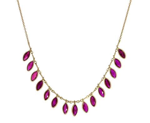 Ruby Marquise Fringe Necklace