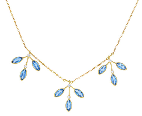 Aquamarine Fern Leaf Fringe Necklace