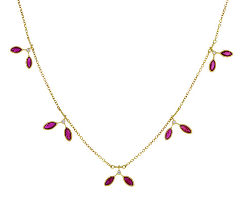 Ruby Fern Leaves Fringe Necklace