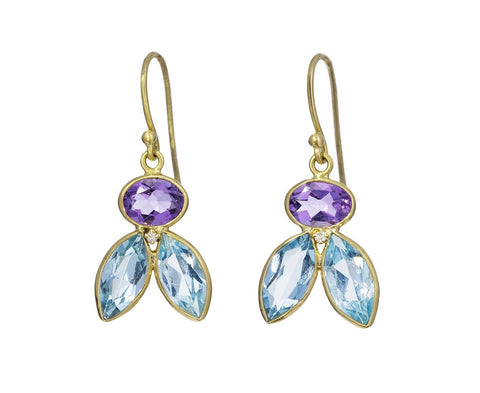 Blue Topaz and Amethyst Fly on the Wall Earrings - TWISTonline