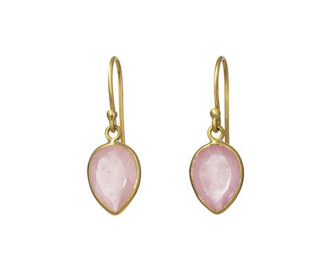 Rose Quartz Leaf Earrings