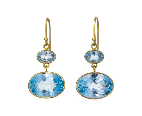 Blue Topaz Double Earrings