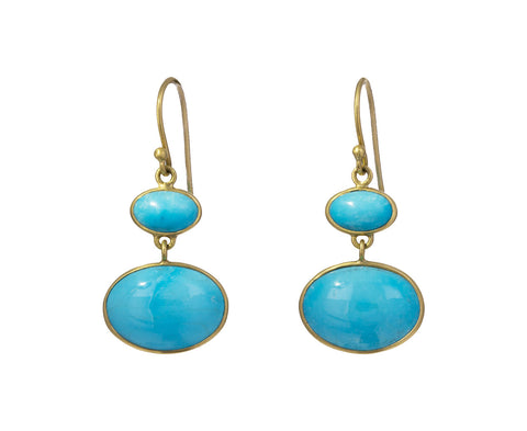 Smooth Turquoise Double Drop Earrings