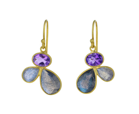 Amethyst and Labradorite Petal Earring - TWISTonline