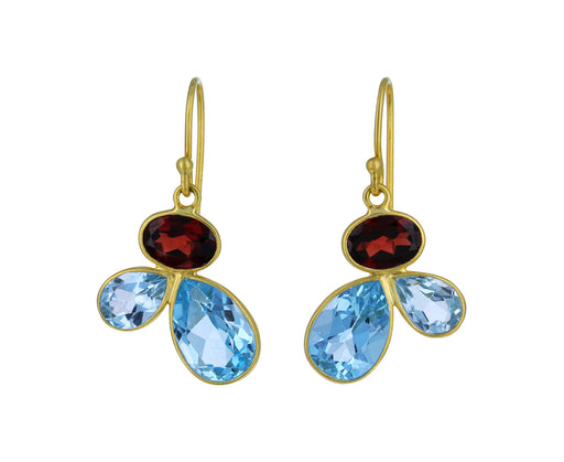 Blue Topaz and Red Garnet Petal Earrings - TWISTonline