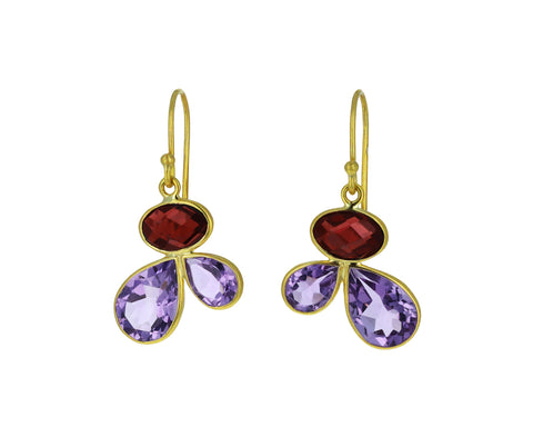 Amethyst  and Garnet Petal Earrings