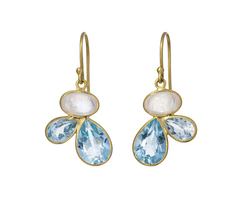 Moonstone and Blue Topaz Petal Earrings